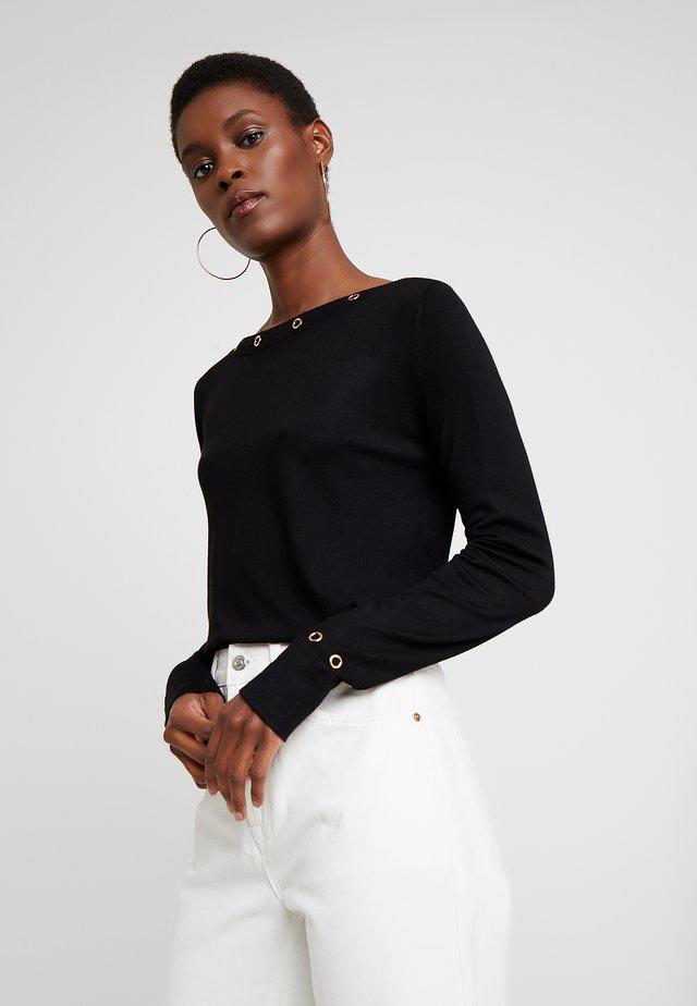 EYELET JUMPER - Pullover - black