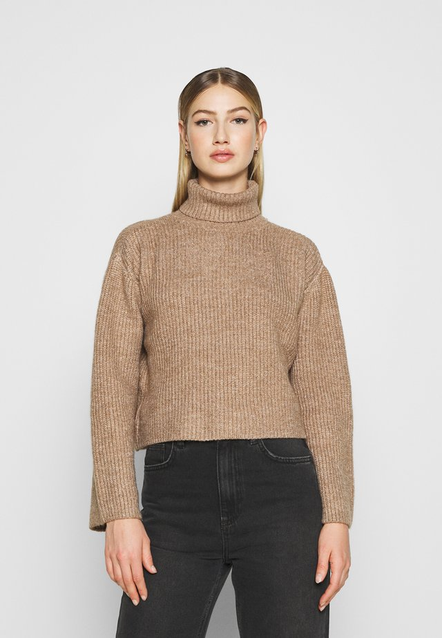 CROPPED BOXY ROLL NECK - Jumper - mottled brown
