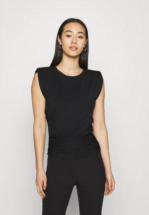 ASTRID CLINCHED WAIT SHOULDER PAD TANK - Basic T-shirt - black