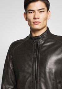 Strellson - FLAG - Leather jacket - dark brown - 4