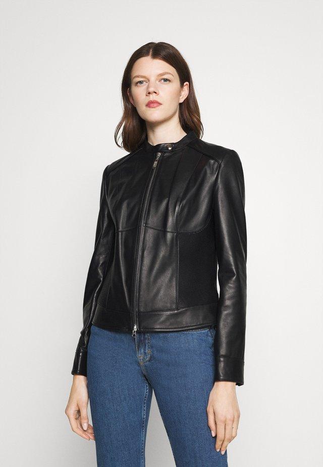 LUXURY ZIP JACKET - Veste en cuir - black