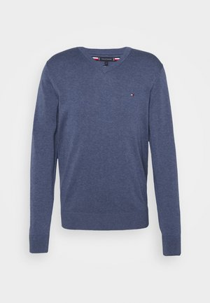 V NECK - Stickad tröja - faded indigo heather