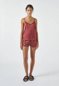 PULL&BEAR - MIT SPITZE - Pyjama top - bordeaux - 1