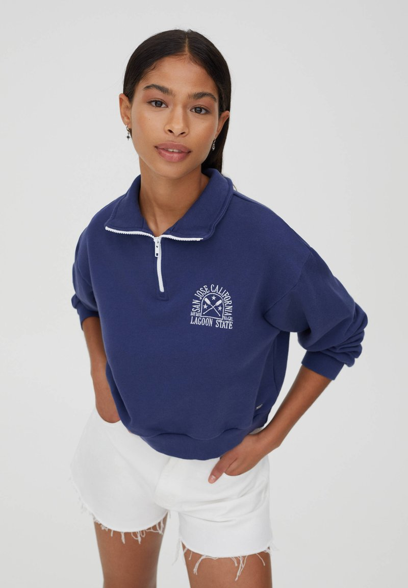 PULL&BEAR - Sweatshirt - mottled dark blue