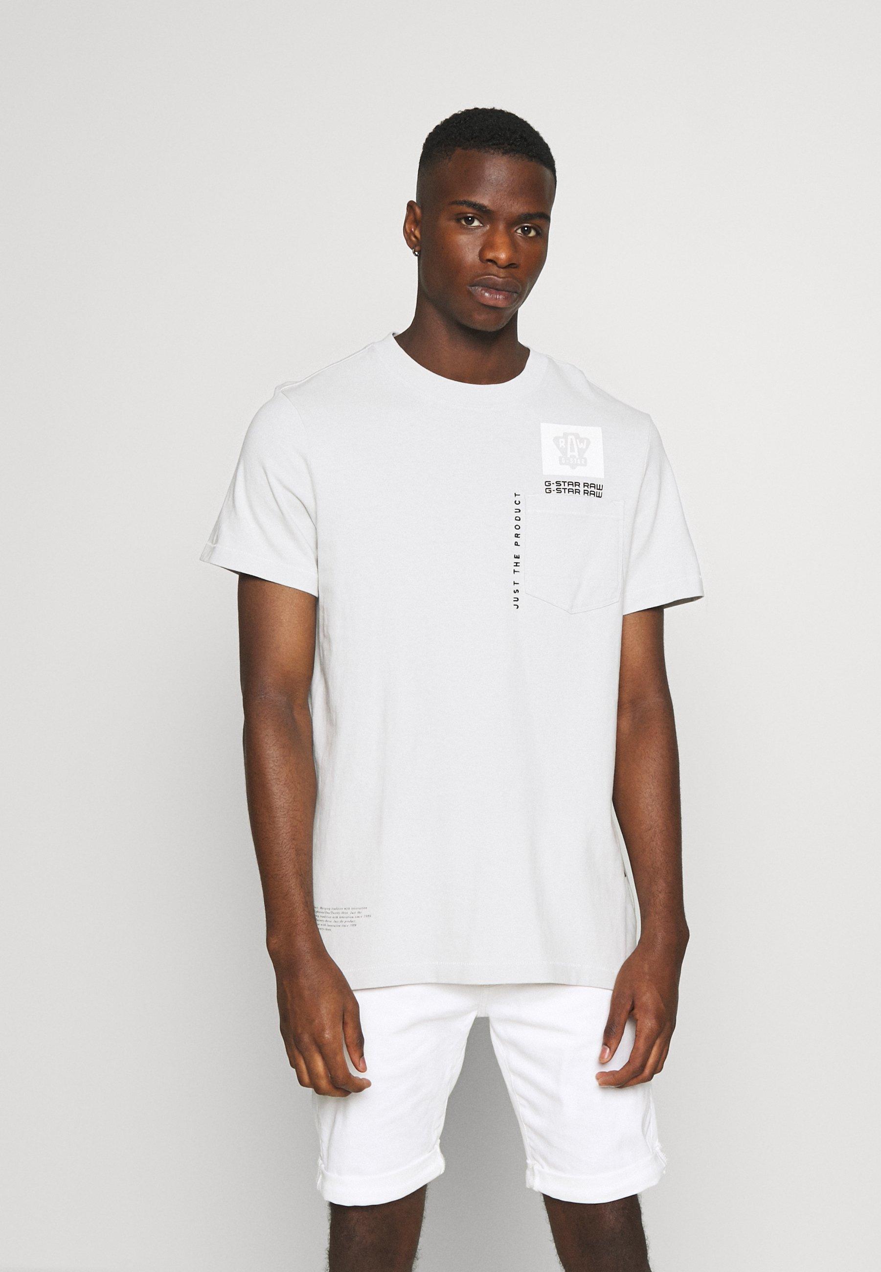 G-Star MULTI LOGO POCKET  - Print T-shirt - cool grey uCwMa