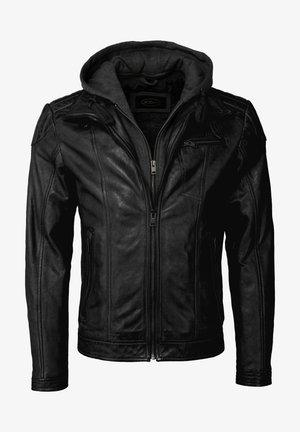 MIT KAPUZE - Leather jacket - black