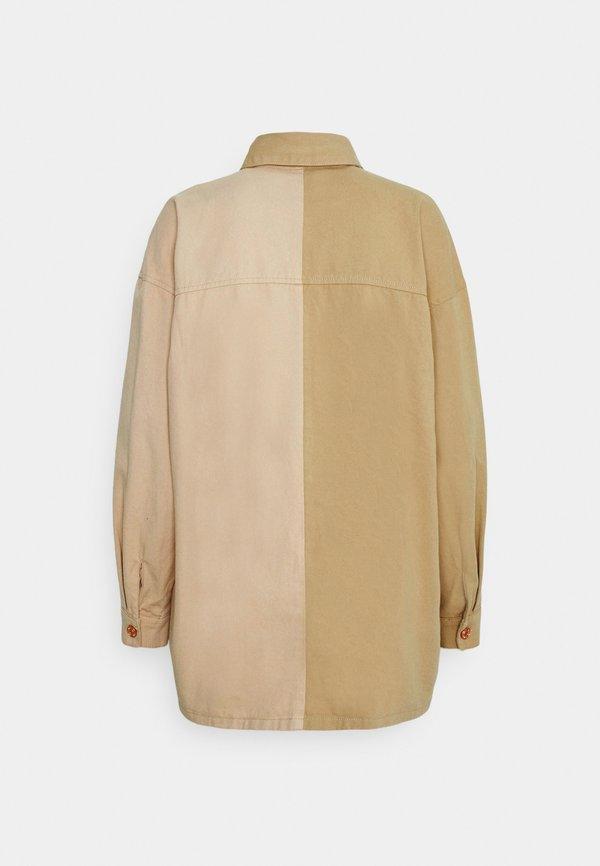 Missguided SPLICED OVERSIZED TIE SHIRT - Koszula - tan/jasnobrązowy ZZTY