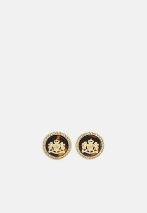 CE CREST BUTTON - Earrings - gold/brown