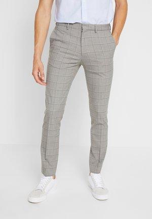 WINDOWPANE CHECK - Trousers - light grey