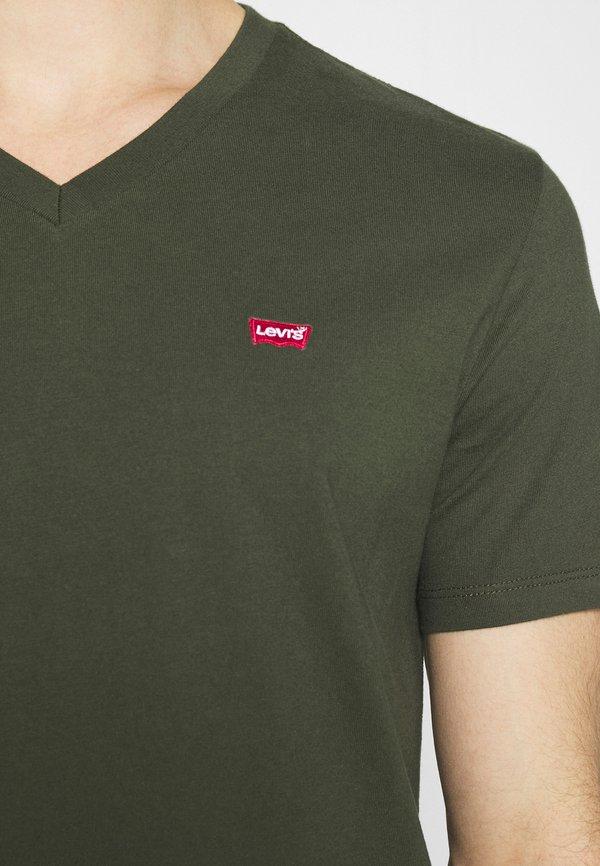 Levi's® VNECK - T-shirt z nadrukiem - greens/oliwkowy Odzież Męska NWEL