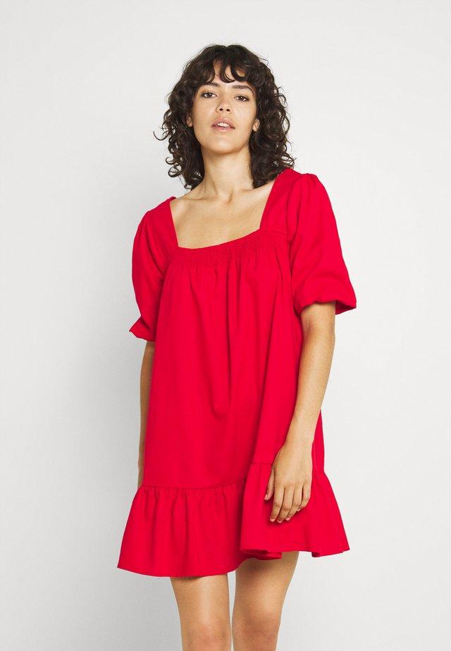 SHIRRED PUFF SLEEVE MINI DRESS - Day dress - red
