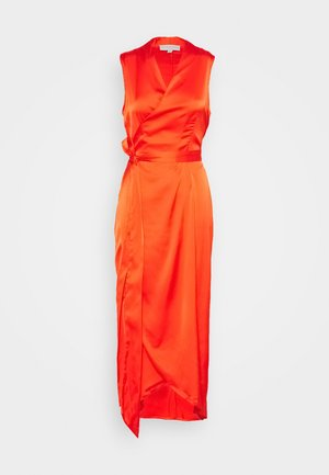 TANGERINE SLEEVELESS WRAP DRESS - Vestido de cóctel - tangerine