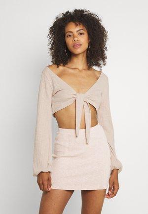 TIE SKIRT SET - Mini skirt - beige
