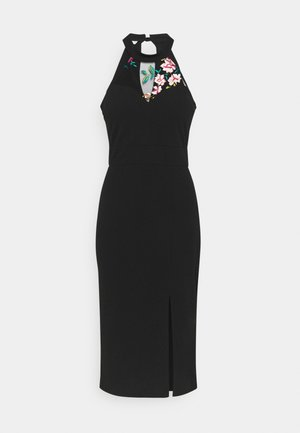 KAYDEN FLORAL DETAIL MIDI DRESS - Pouzdrové šaty - black