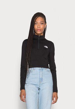 CROP ZIP THROUGH - Long sleeved top - black