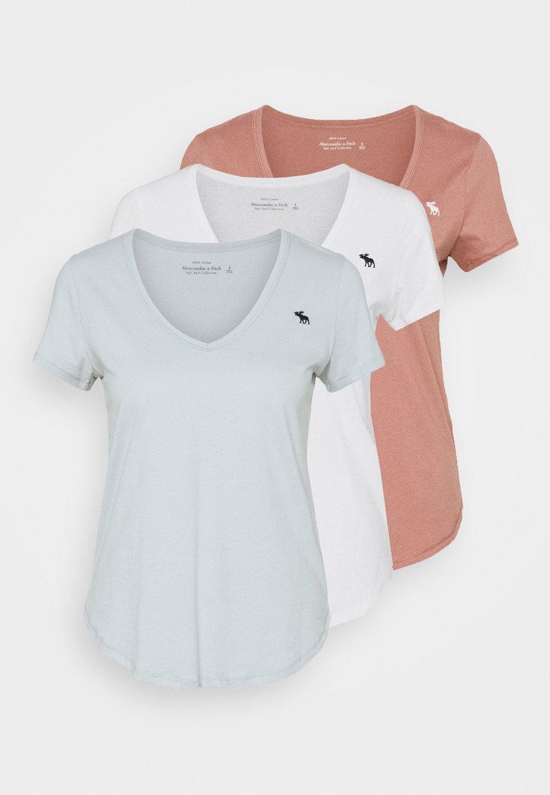 Abercrombie & Fitch - VNECK 3 PACK - T-shirt basic - light blue/white/dark pink