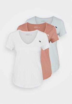 VNECK 3 PACK - Jednoduché triko - light blue/white/dark pink