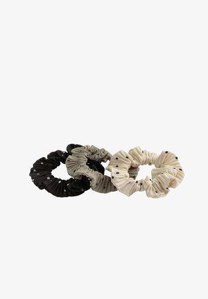 3 DOT PRINT SCRUNCHIES - Hair styling accessory - black, grey, beige