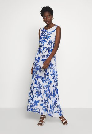 SPRAYED FLORAL PLEAT DRESS - Robe de cocktail - ivory/blue