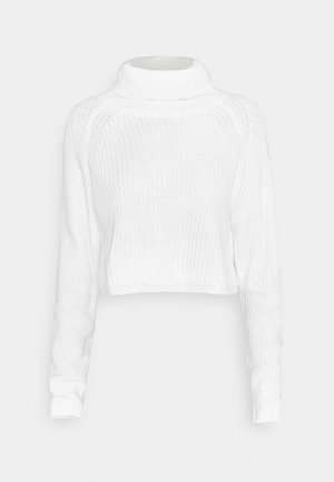ROLL NECK BATWING CROP JUMPER - Svetr - off white