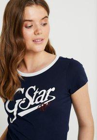G-Star - GRAPHIC LOGO SLIM - Camiseta estampada - sartho blue - 4