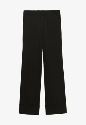 MIT UMGESCHLAGENEM SAUM  - Trousers - black