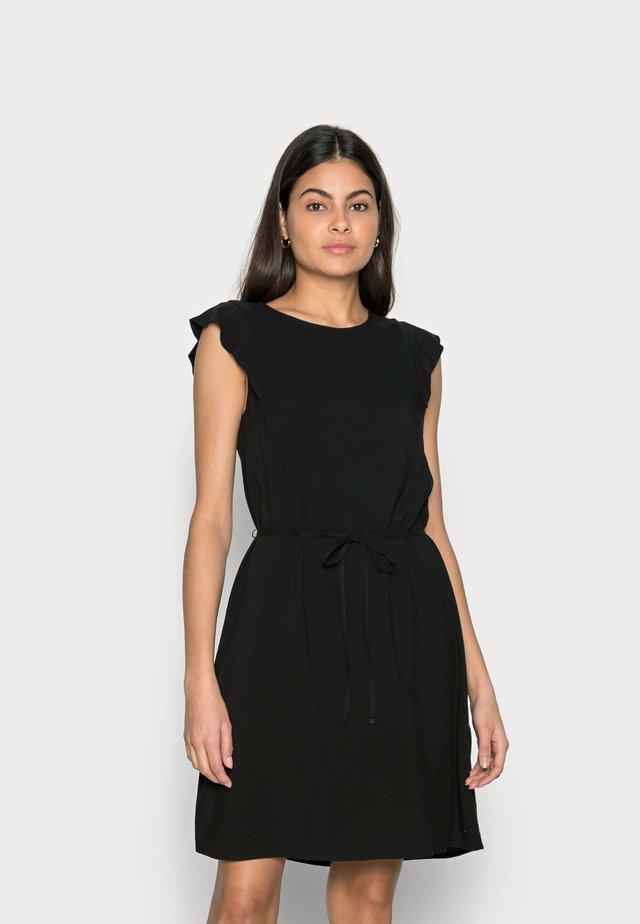 WITH RUFFLE SLEEVE - Denní šaty - deep black