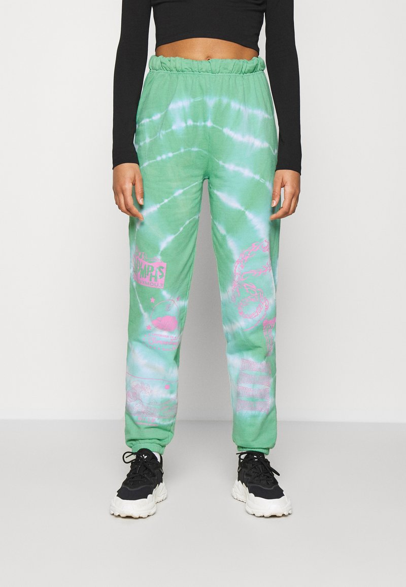 NEW girl ORDER - TRIBAL DRAGON TIE DYE JOGGERS - Tracksuit bottoms - green
