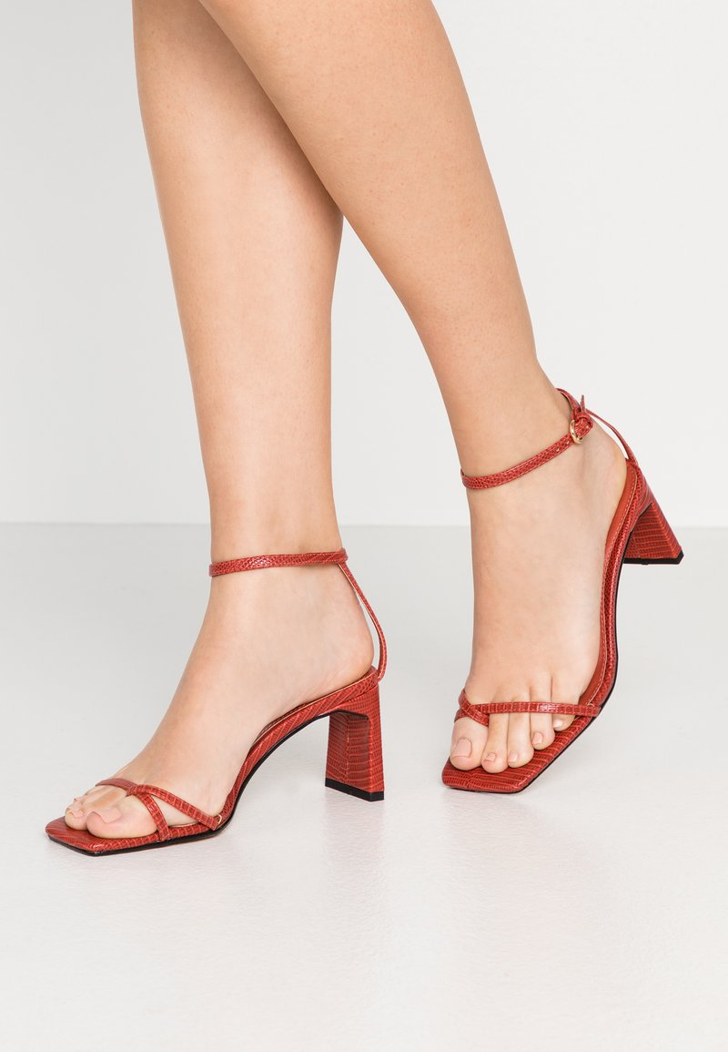 Topshop - NATURE STRAPPY BLOCK - T-bar sandals - rust