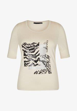 MIT FRONT-PRINT UND PAILLETTEN - Print T-shirt - sand