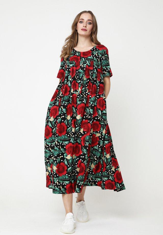 Maxi-jurk - schwarz rot