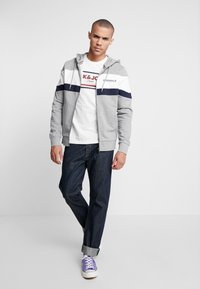 Jack & Jones - JORNEWSHAKEDOWN BLOCK ZIP  - Mikina na zip - light grey melange - 1