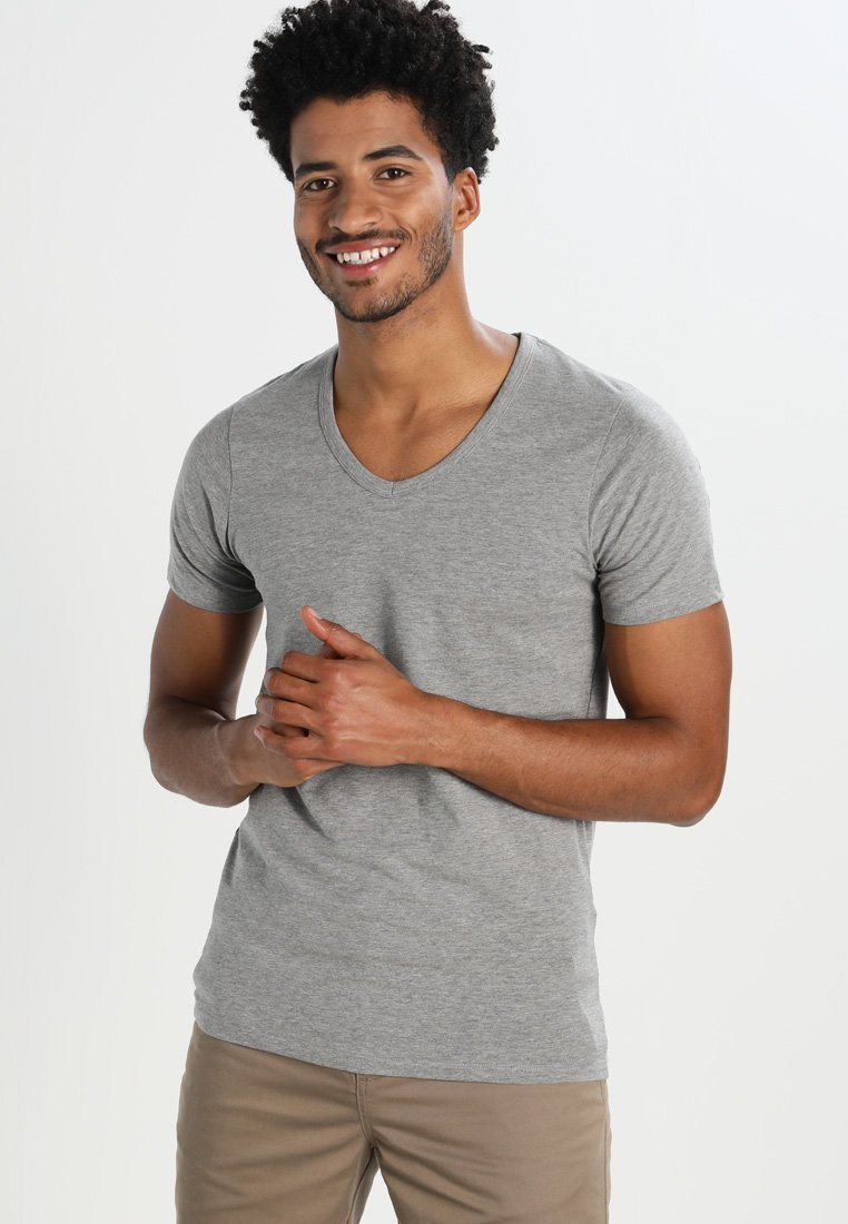 Jack & Jones - BASIC V-NECK  - T-shirt - bas - grey