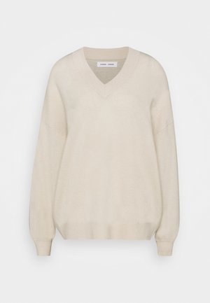 AMARISTA V-NECK - Jumper - clear cream melange