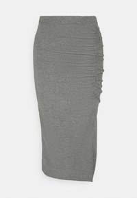 ONLY - ONLNELLA SLIT SKIRT - Bleistiftrock - medium grey melange - 0