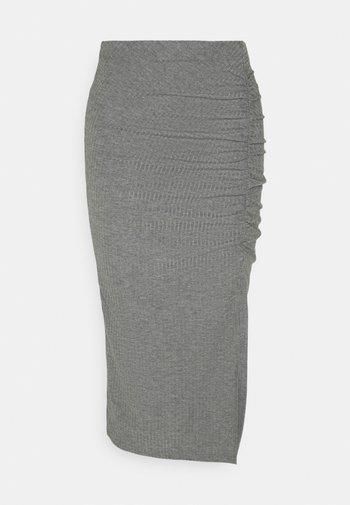 ONLNELLA SLIT SKIRT - Pencil skirt - medium grey melange