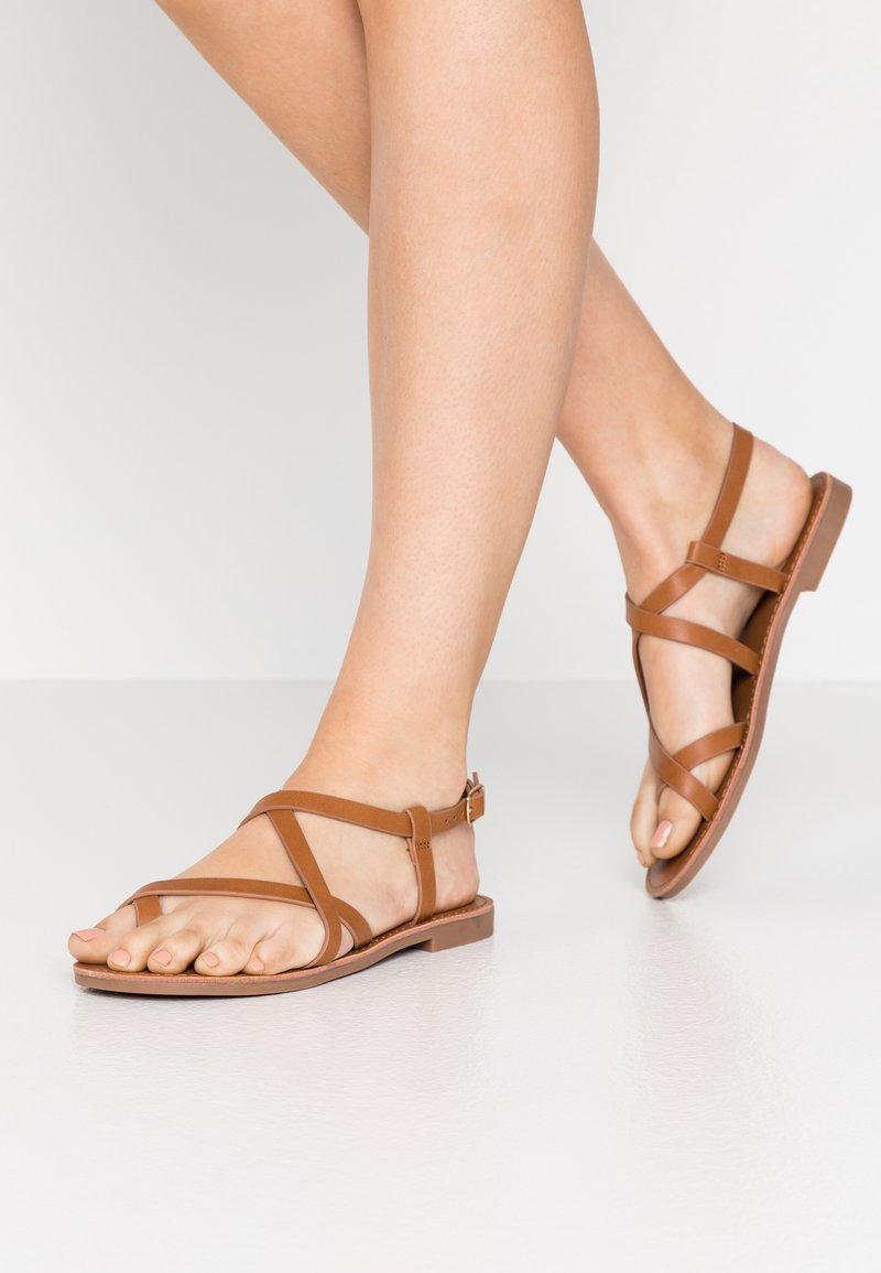 ONLY SHOES - ONLMANDALA CROSSOVER  - T-bar sandals - cognac
