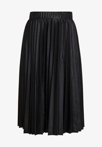 Lost Ink Plus - PLEATED SKIRT IN COATED - A-Linien-Rock - black - 4