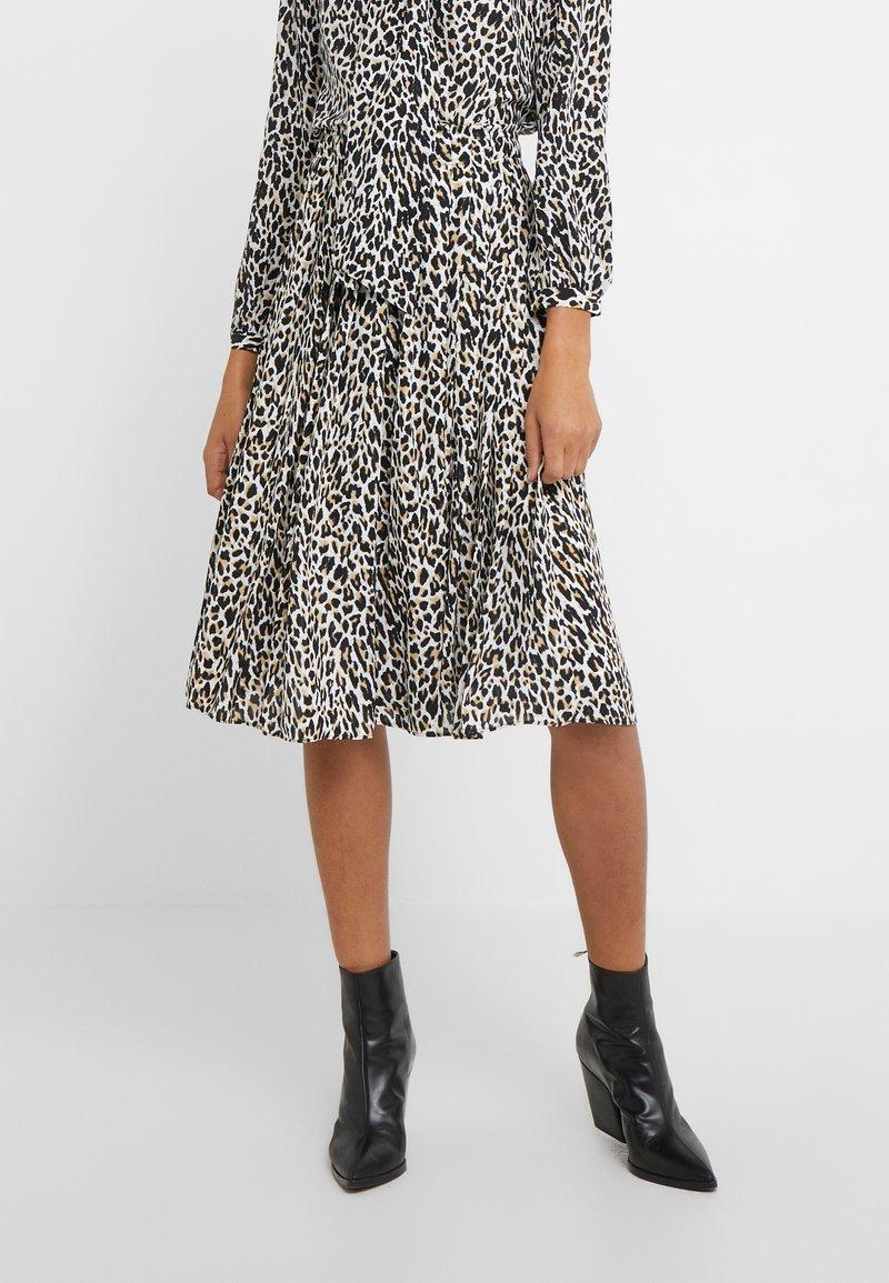 J.CREW - OCELOT PLEATED LEOPARD SKIRT - A-line skirt - natural multi