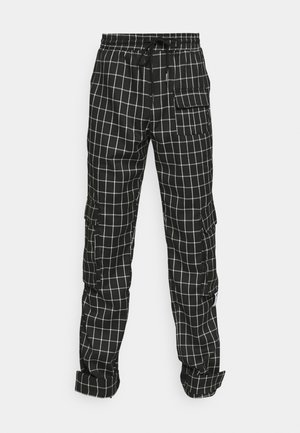 CHECK CARGO - Cargo trousers - black