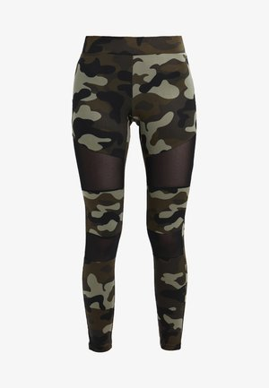 LADIES CAMO TECH - Leggings - Trousers - wood/black