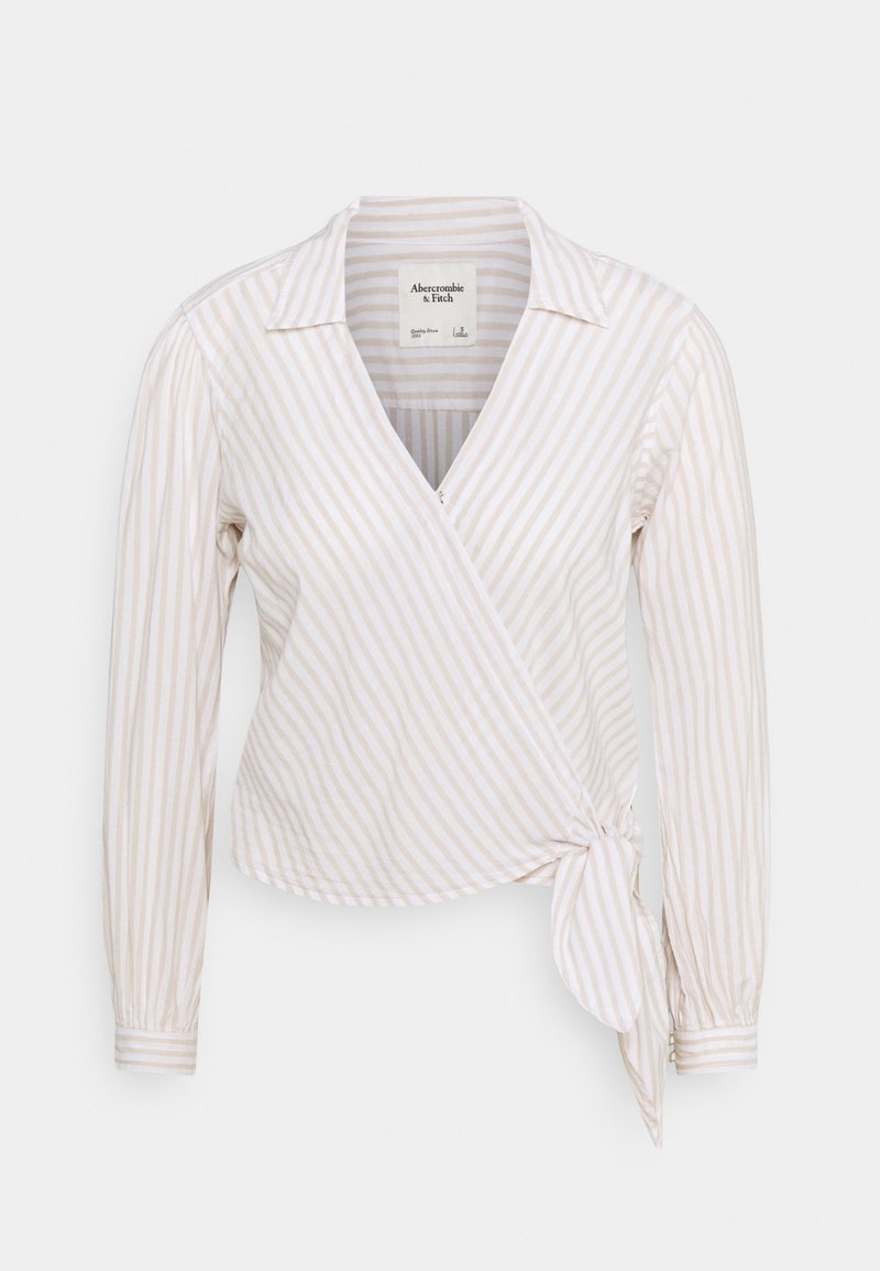 Abercrombie & Fitch - PREPPY WRAP - Blouse - green/gorunded stripe