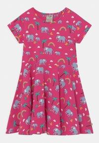 Frugi - SPRING SKATER RAINBOW ELEPHANTS - Jersey dress - deep pink - 0
