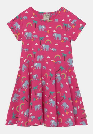 SPRING SKATER RAINBOW ELEPHANTS - Jersey dress - deep pink