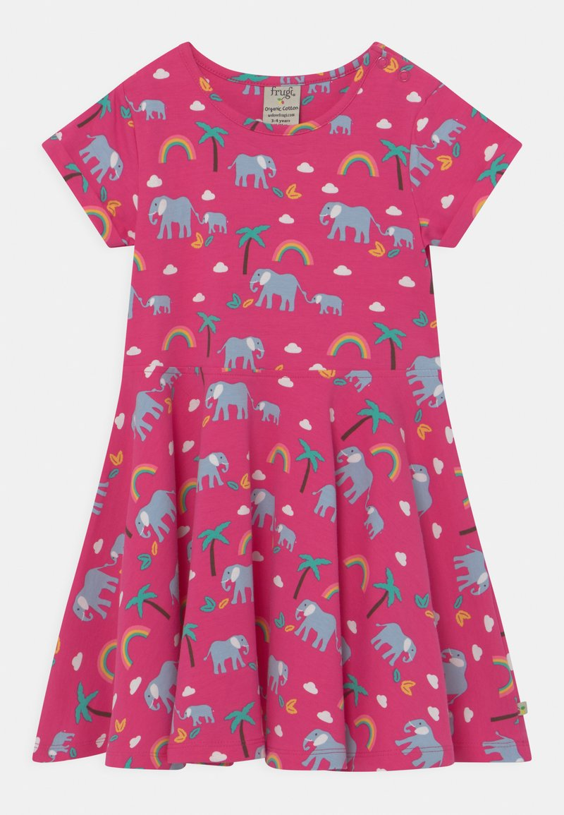 Frugi - SPRING SKATER RAINBOW ELEPHANTS - Jersey dress - deep pink