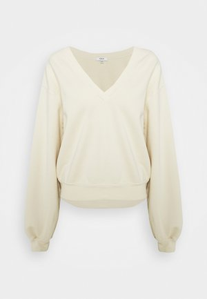 V NECK BALLOON SLEEVE - Mikina - penne pale yellow