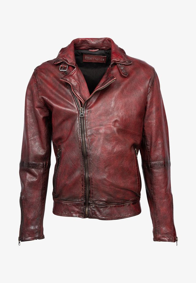 Leather jacket - multiple crimson red
