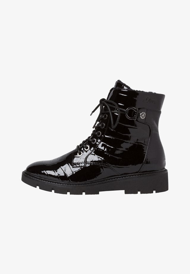 Bottines à lacets - blk croco pat.
