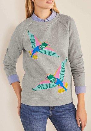 DAS - Sweatshirt - grau meliert, exotische vögel