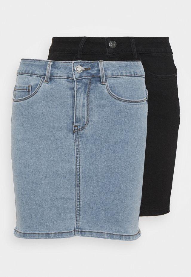 VMHOT SEVEN SKIRT 2 PACK - Minifalda - light blue denim/black